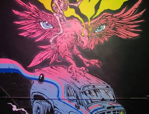 Painted this beer chugging skeleton riding an Eagle attacking a 70s Chevy van do