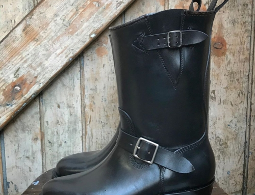 A pair for of bespoke Felix Jouanneau engineer boots.  Black Horween Chromexcel,
