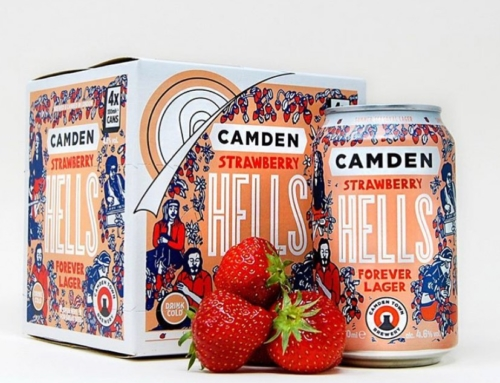 Artwork for @camdentownbrewery Strawberry Hells lager….
