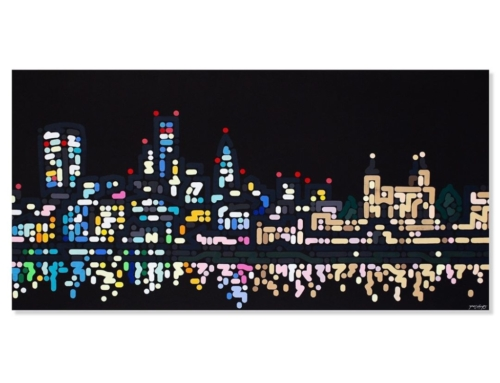 "Thames Lights 2, 2020 Acrylic on canvas 24 x 48"" ."