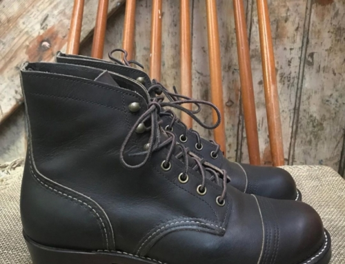 A pair of @redwingheritage iron rangers in for a dark beeswax stained double sta